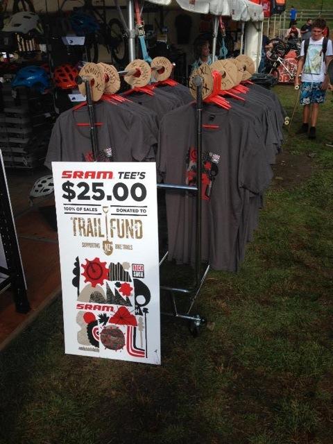 SRAM t-shirt rack at Crankworx Rotorua 2015