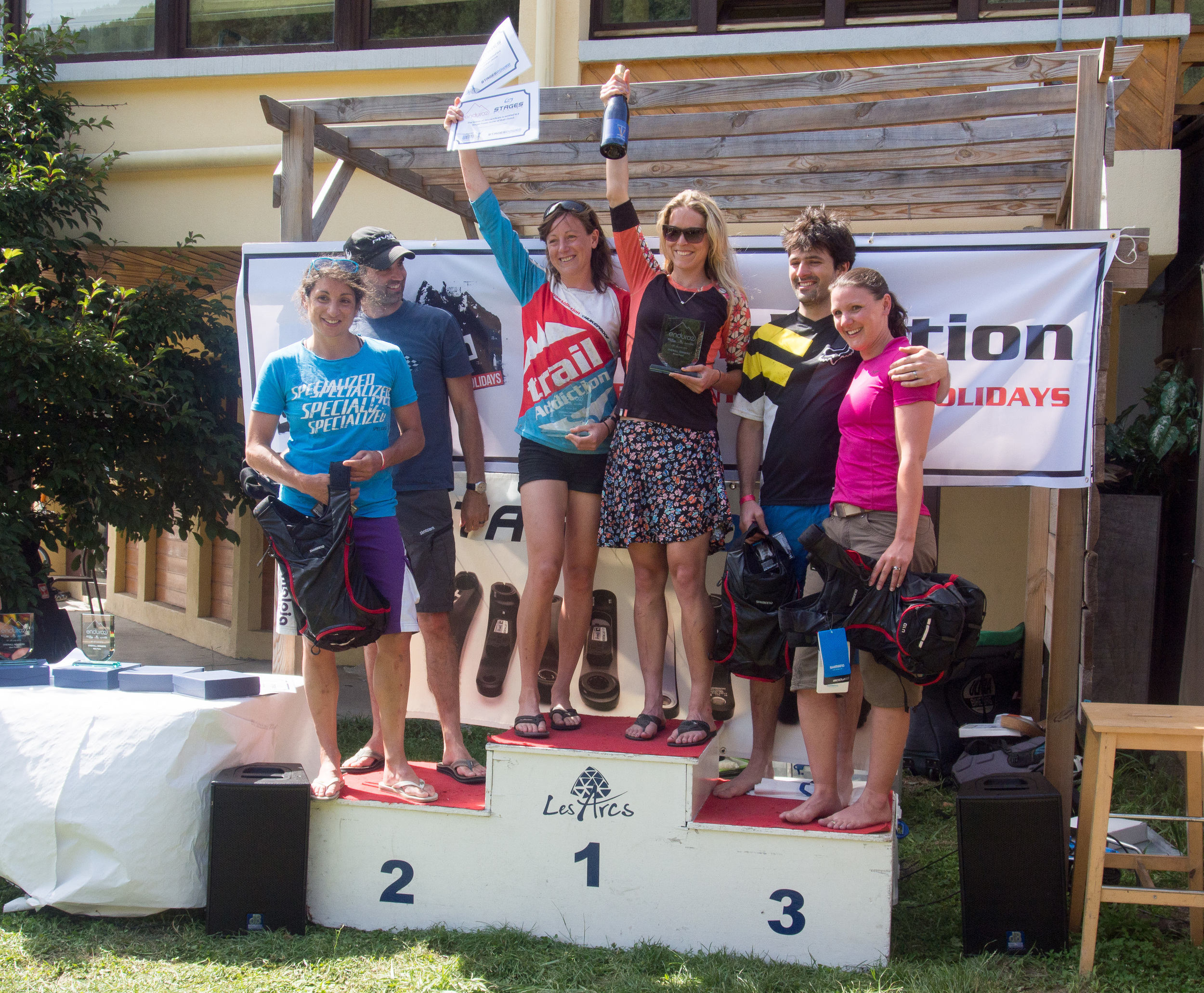 Mixed pairs podium: 1st -The Full Nelson (Meg Bichard/Raewyn Morrison), 2nd - Pivot Specialized Mixed Enduro, 3rd - Team Howard.