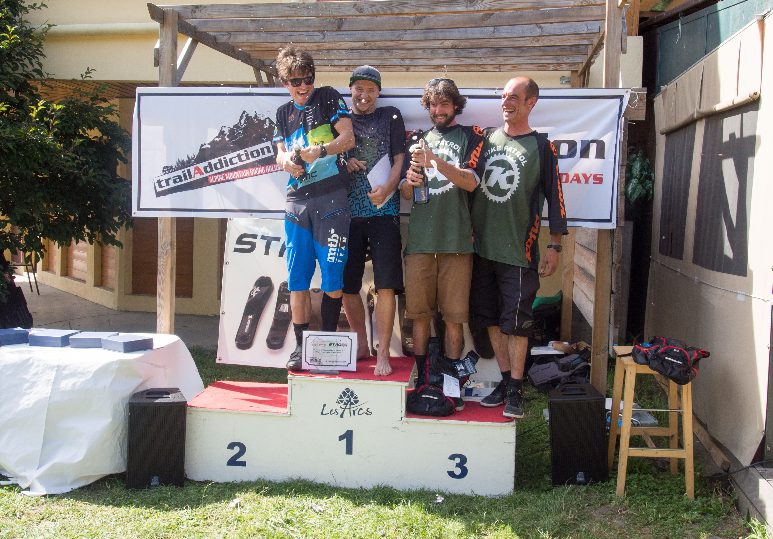 Mens podium. 1st - World of MTB, 2nd - 5 a day (already flying home when prizegiving started), 3rd - ADS
