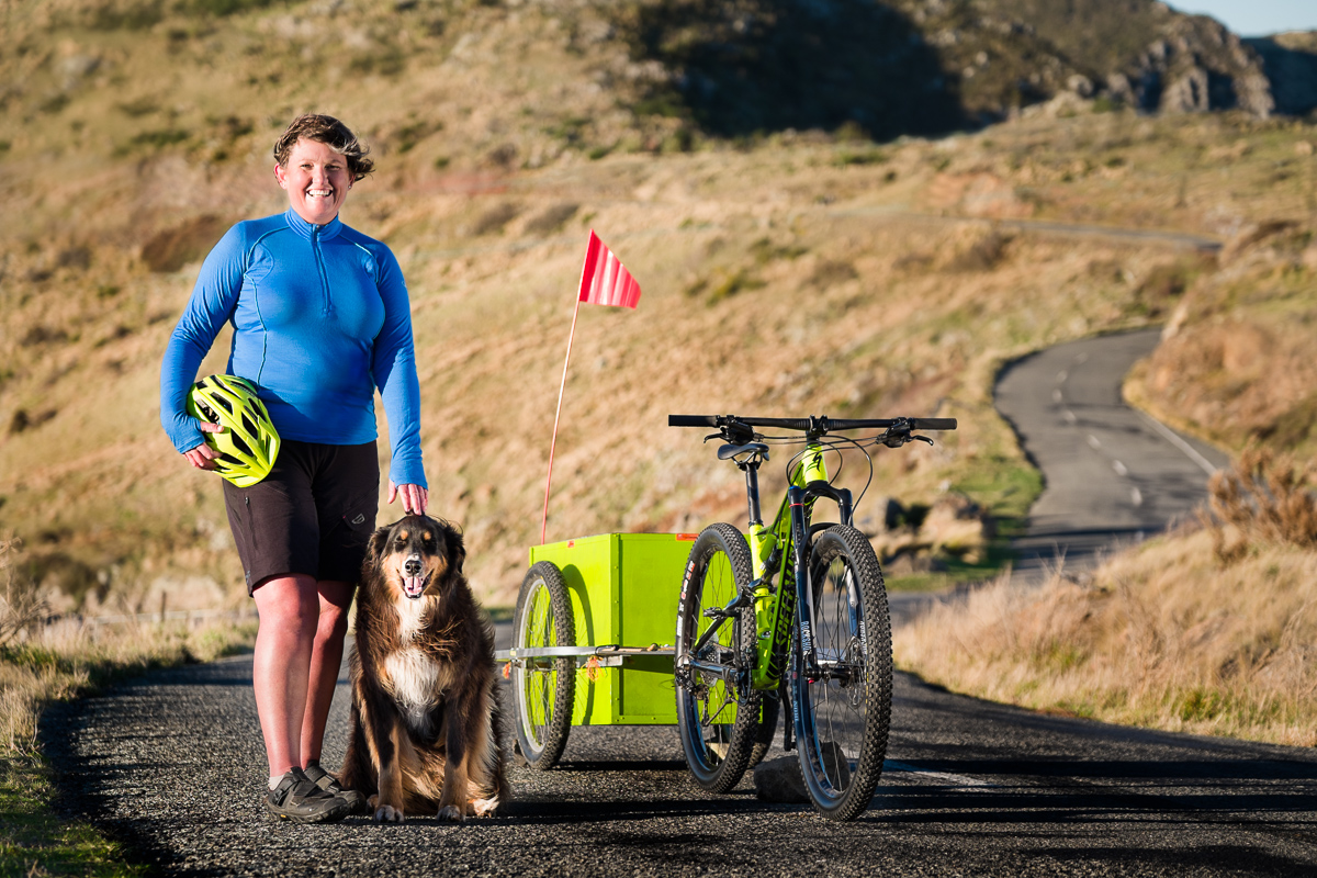 Leisa and Indy with their bike and trailer in the Christchurch Port Hills. Photos Dennis Radermacher
