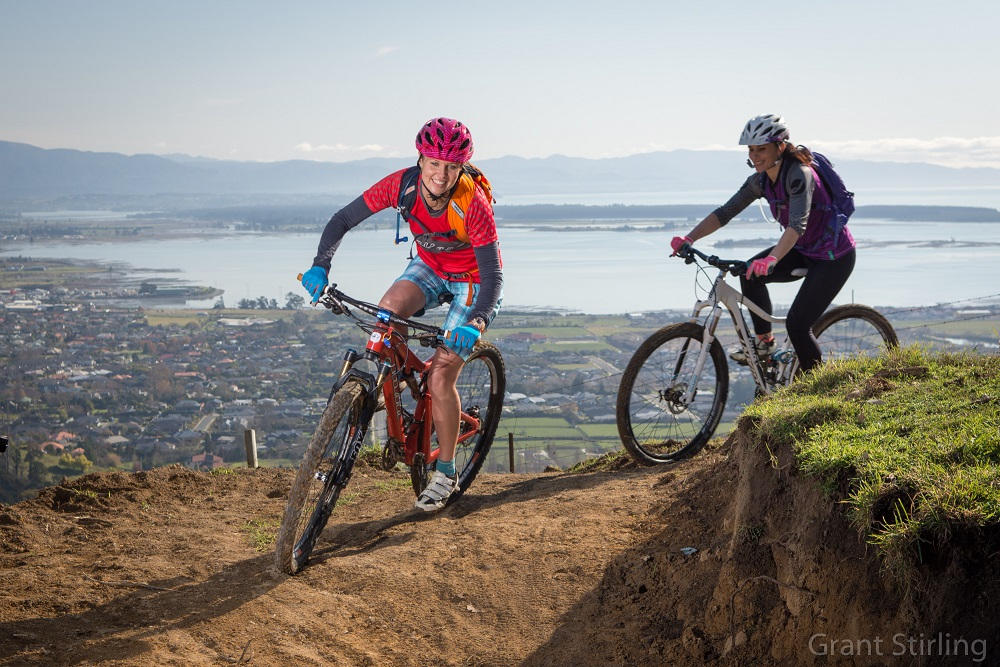 Ang Edridge and Lorene Wallace at Silvan Forest overlooking Tasman Bay. Photo Grant Stirling