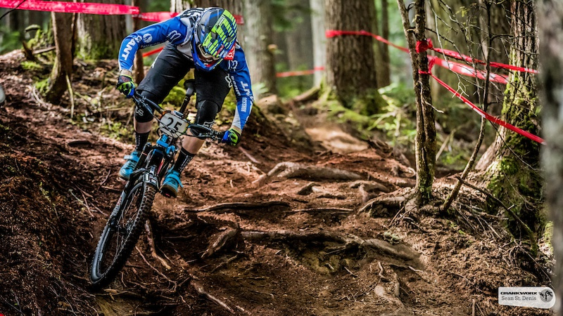 Josh Carlson on the first stage of the  SRAM  Canadian Open Enduro Presented by Specialized. In Whistler, British Columbia (Sean St.Denis)