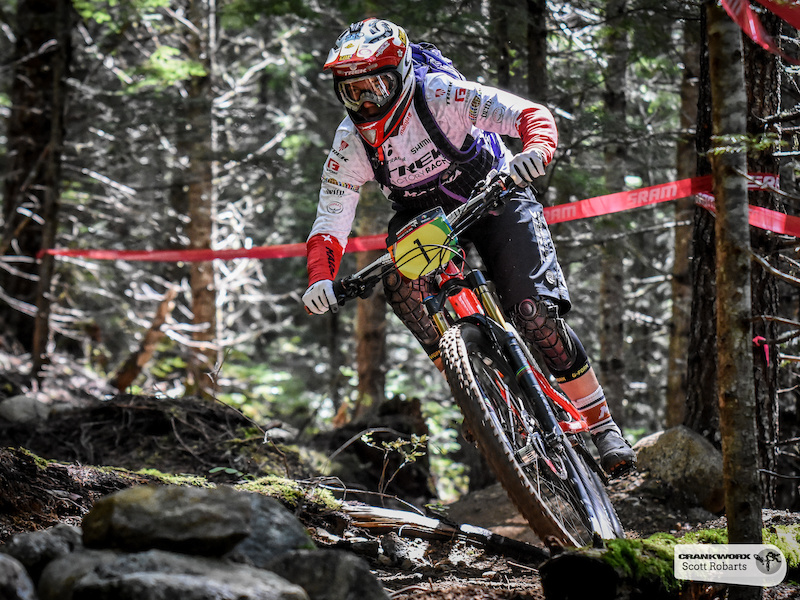 Tracey Mosely of Great Britain descends stage three of the SRAM Canadian Open Enduro, Crankworx Whistler 2015. (Photo By: Scott Robarts).