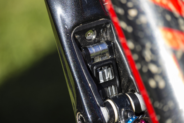 Tucked away on the underside of the top tube is the integrated multitool.