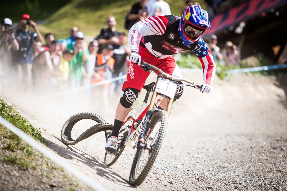 Leogang 2014 - fighting to the finish of his run without a rear tire.