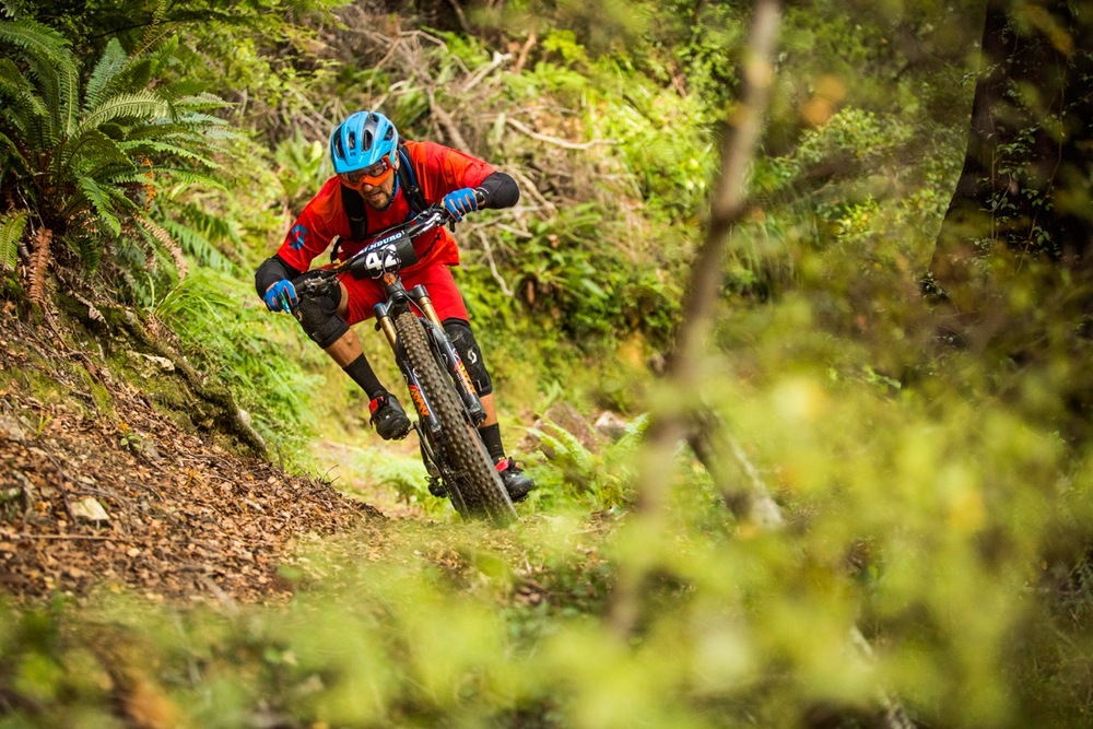 Thomas Raemy ticks off two of Raewyn's list, rocking the goggles/open face lid combo at the NZ Enduro. Photo: Caleb Smith