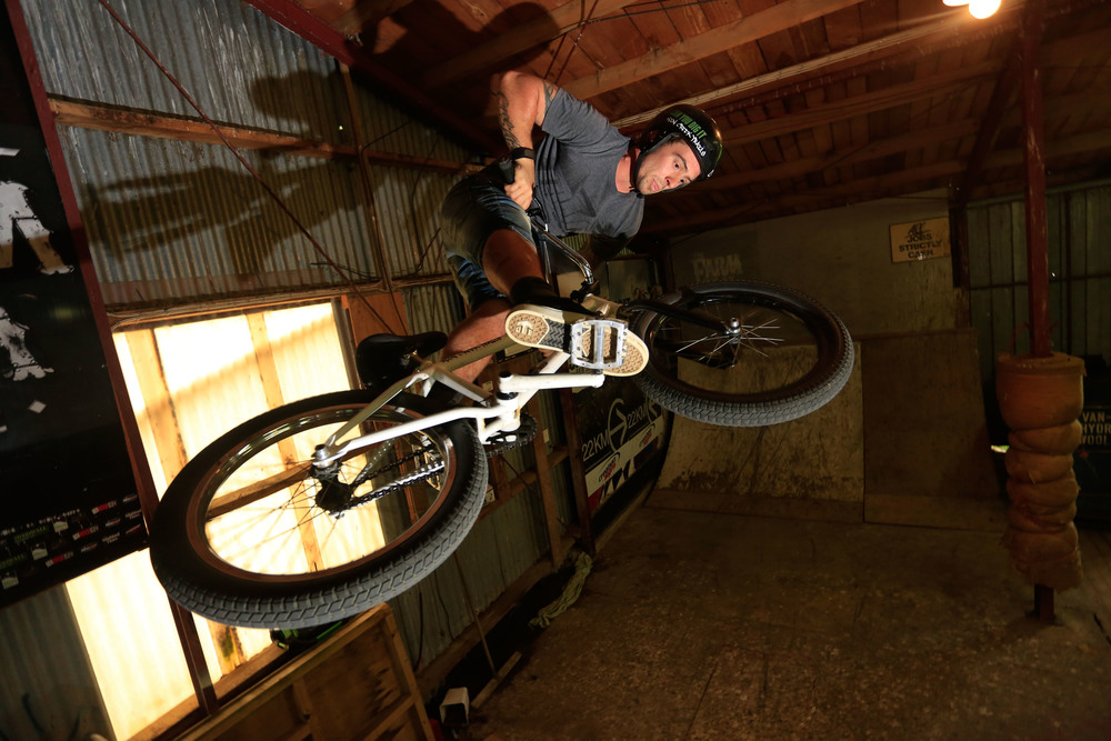 A half-pipe was built in the wool shed so riders could still ride if the jump track couldn't be ridden, such as if it was raining or to windy.
