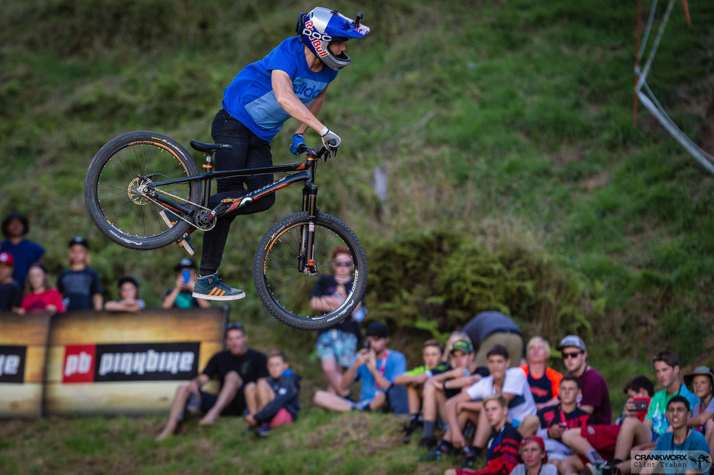 Martin Soderstom performs for the fans during the Mons Royale Dual Speed and Style at Crankworx in Rotorua, New Zealand. Photo - Clint Trahan