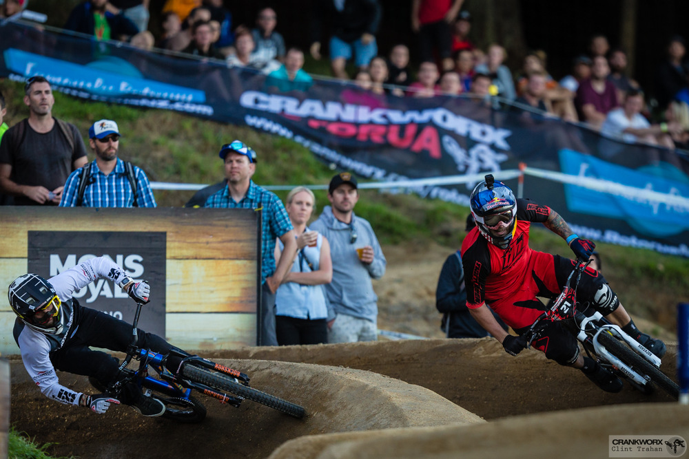Ardrien Loron and Tomas Slavik during the Mons Royale Dual Speed and Style at Crankworx in Rotorua, New Zealand. Photo - Clint Trahan