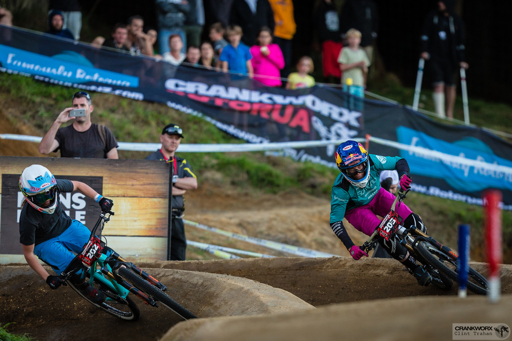 Jill Kintner and Casey Brown during the Mons Royale Dual Speed and Style at Crankworx in Rotorua, New Zealand. Photo - Clint Trahan