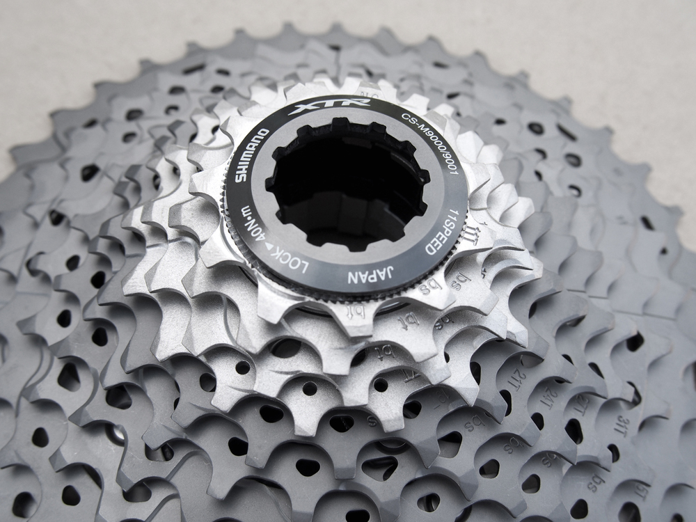 The XTR cassette is an impressive cocktail of aluminium, titanium, and steel . . .