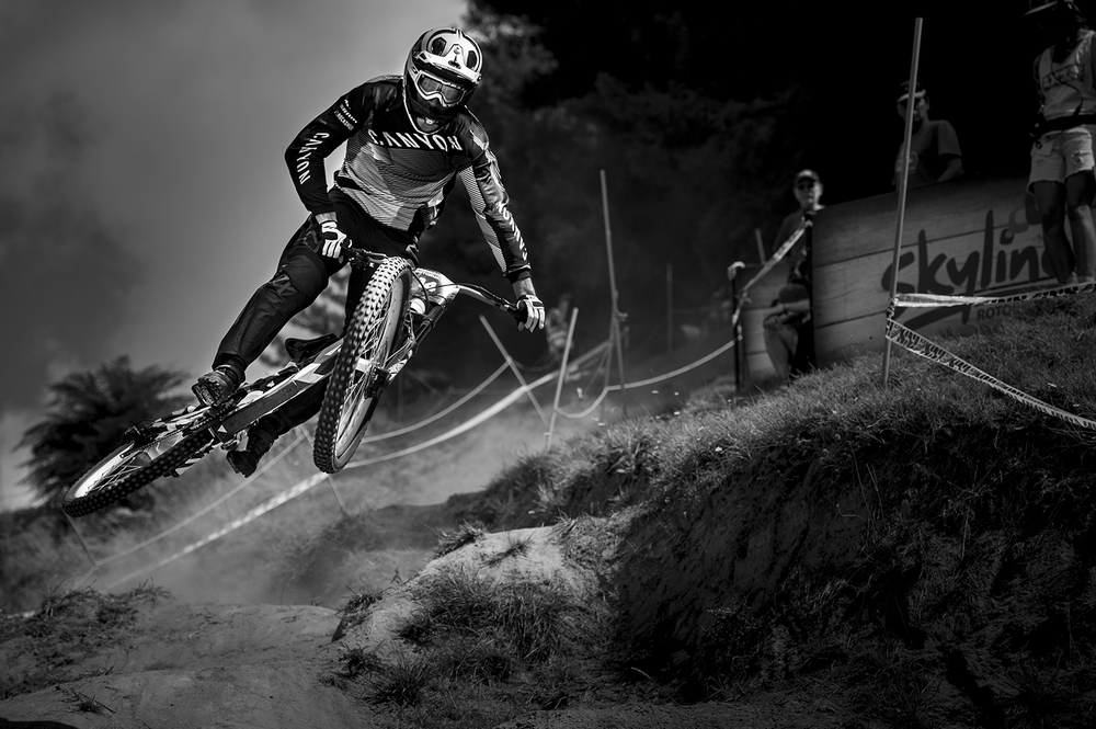 SENDER in action at Crankworx, Rotorua with test pilot Fabien Barel onboard