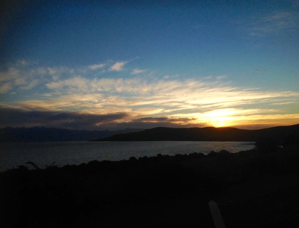 Evening arrival in Bariloche to a beautiful sunset