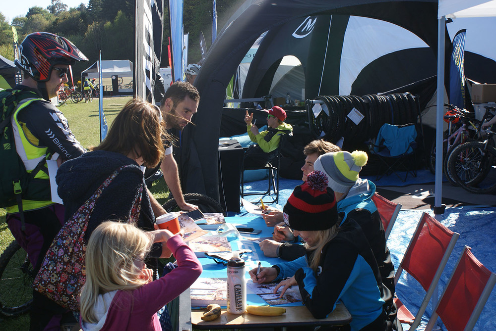 Team Lapierre signings after practice.  Photo: Philip Ellis