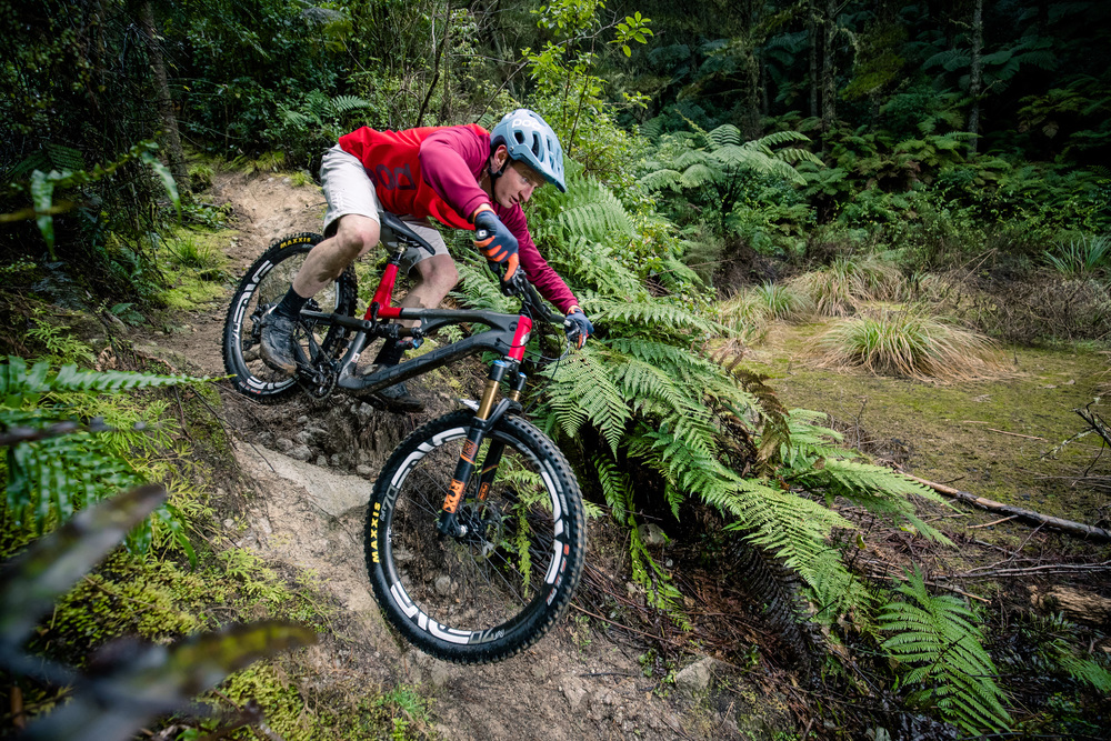 "Lord Weasel got to break it in before it came to me. Weasel used to smash the boys in DH last century. Now he builds dark trails in Vegas like ""Def Leppard"" and....Oh, sorry, that ones a secret. photo: Graeme Murray. Rotorua."