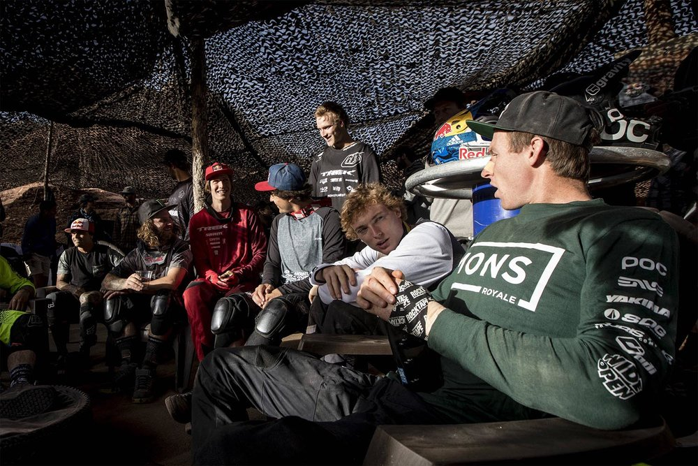 Relaxing with fellow competitors. Photo: Christian Pondella / Red Bull Content Pool