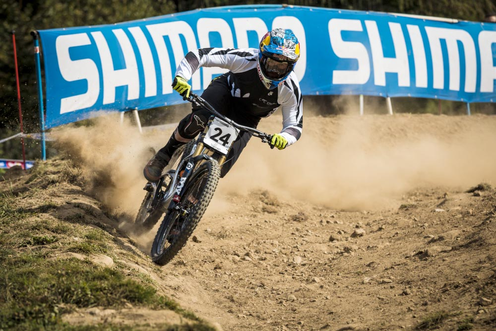 Brook muscling his way through the gigantic hole that formed at the end of the first berm at World Champs. Unfortunately he couldn't capitalise on his impressive seeding result of 12th and ended up in 29th, still a good day by anyone's standards.