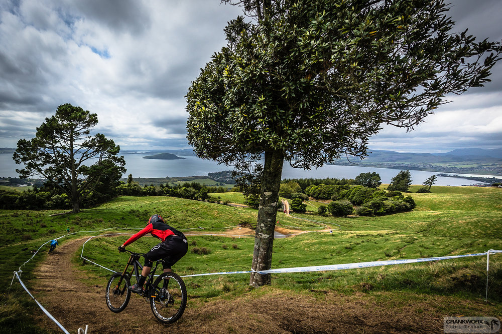 Bas van Steenbergen rips the Crankworx Rotorua Downhill presented by iXS last March; it was won by Loic Bruni and Jill Kintner