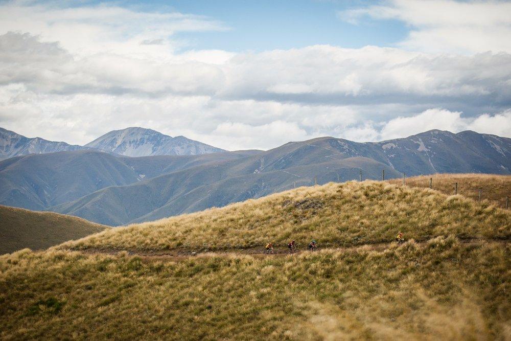 The teams travelling through beautiful terrain
