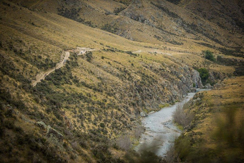 Riders traverse the hillside en route to Fairlie
