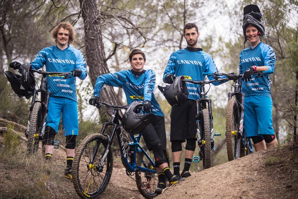 The new line-up: Joe Barnes, Dmitri Tordo, Florian Nicolai, Ines Thoma. Copyright: Canyon Bicycles Markus Greber