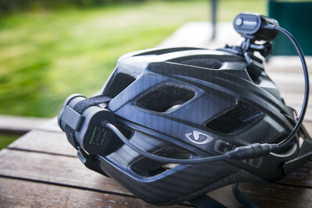 2 Cell X2 Adventure battery mounted on the helmet