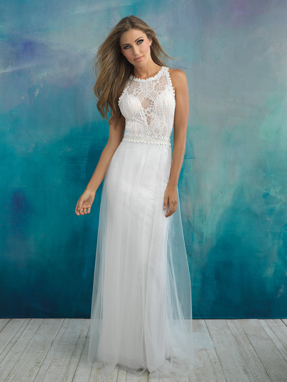 Style 9518 - The tulle overskirt of this sheath only emphasizes the softness of the all-over lace.