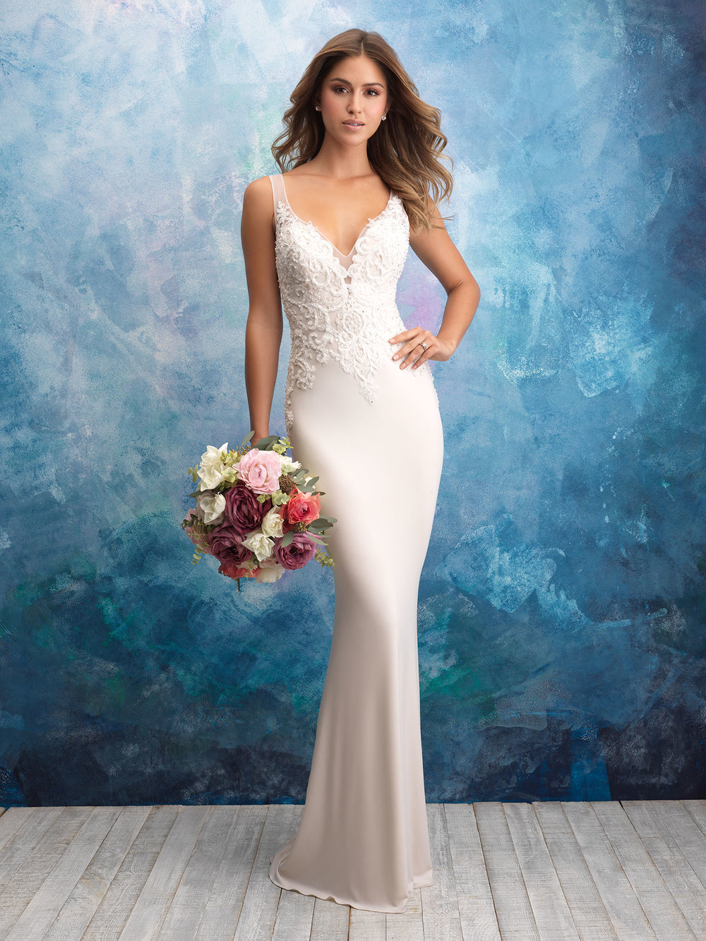 Style: 9554 - The highlight of this curve-hugging gown is found in the sheer sparkling panels along the back.