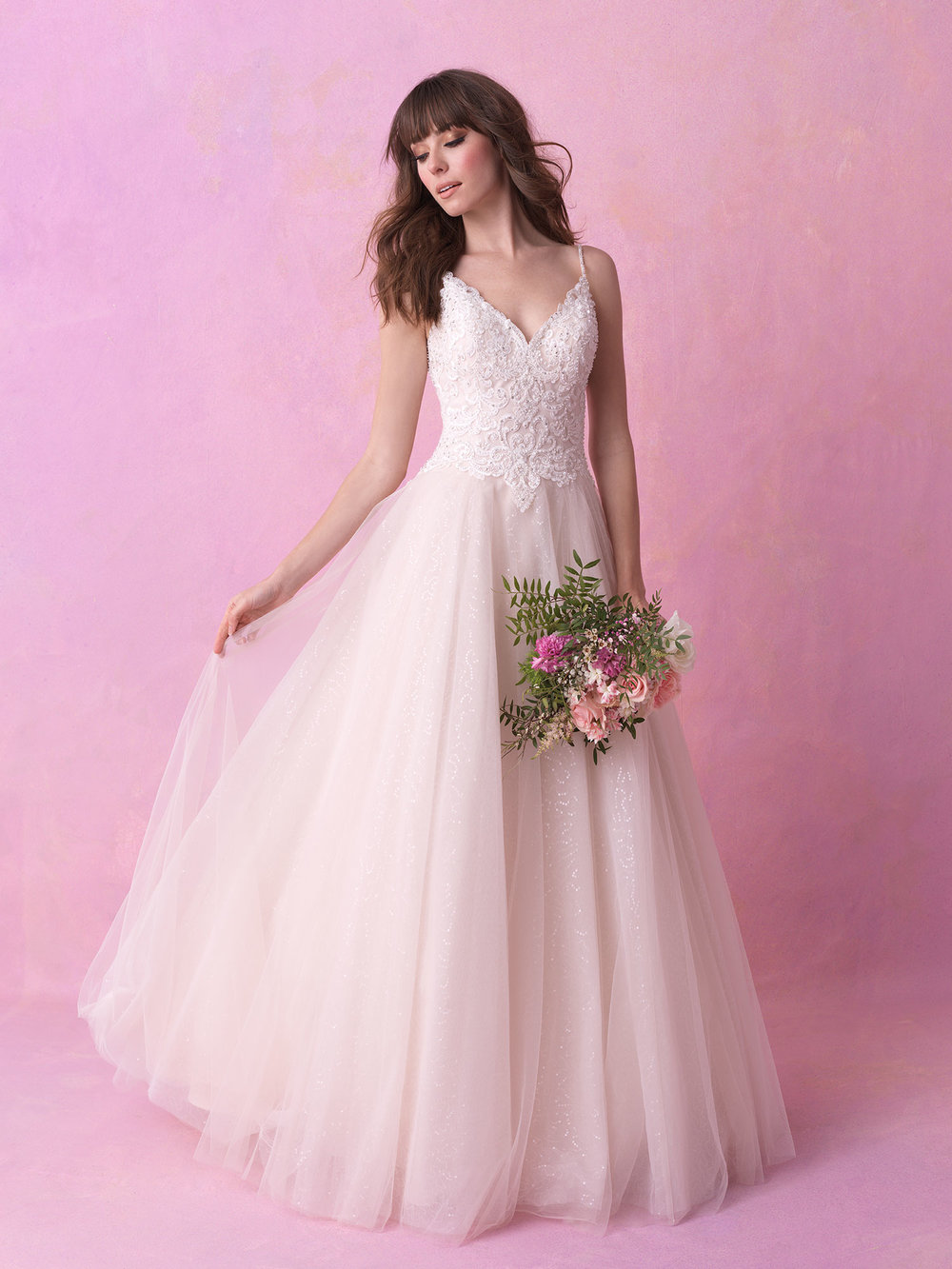 Style: 3150 - Sparkling tulle and embroidered beading accent this strappy ballgown.