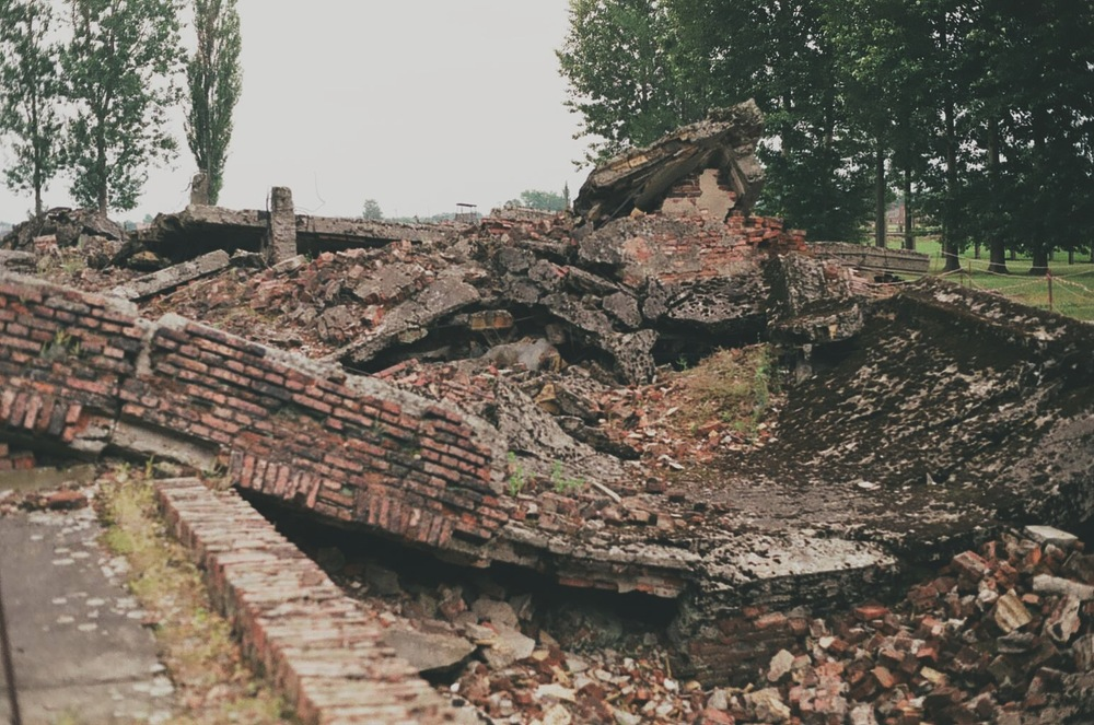 The remains of the destroyed gas chambers at Auschwitz-Birkenau, 2013