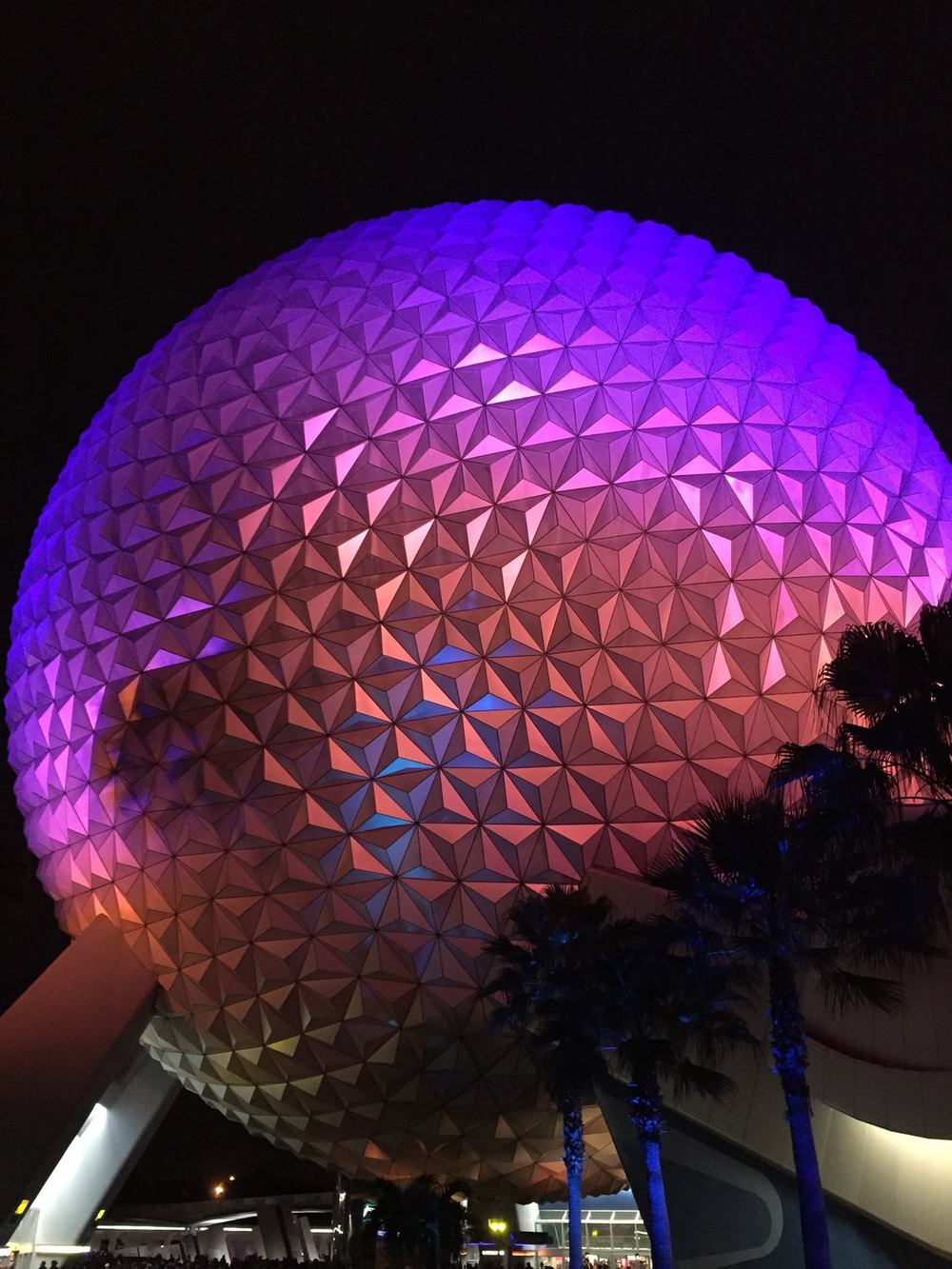 The Golf Ball at night, Epcot