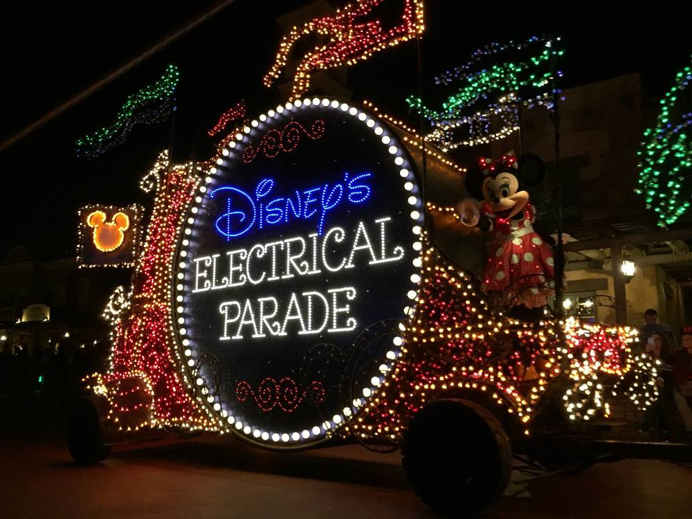 Mickey and Minnie Mouse during the Electric Light Parade, Magic Kingdom