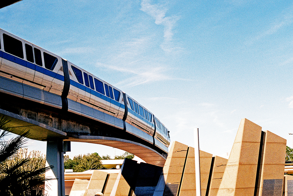 Monorail passing through Epcot