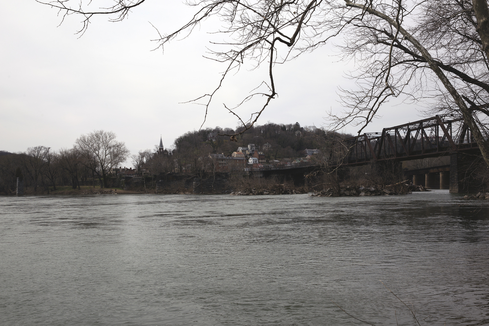 The town of Harper's Ferry from across the Potomac River