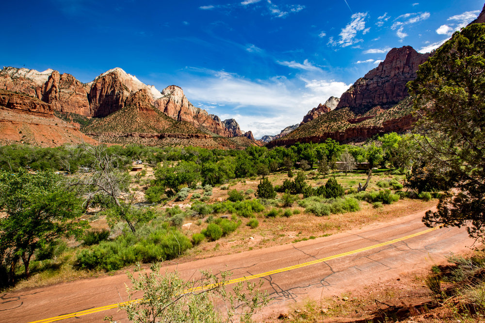 A view of Zion National Park from the beginning of The Watchman Trail.
