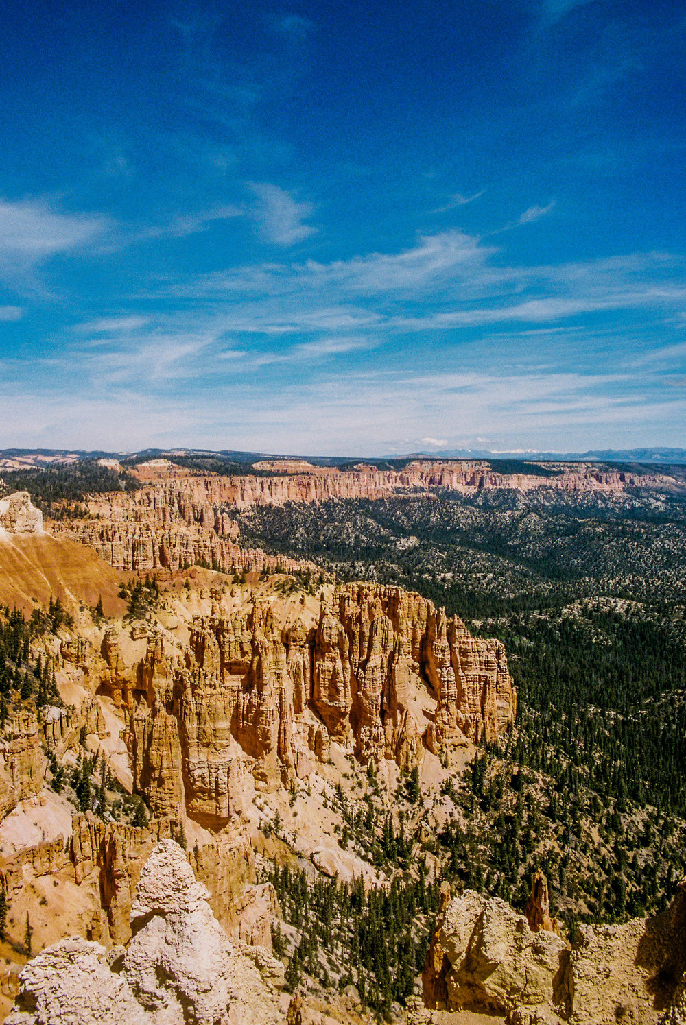 A 35mm film shot of the rock formations, called hoodoos, that Bryce Canyon is known for