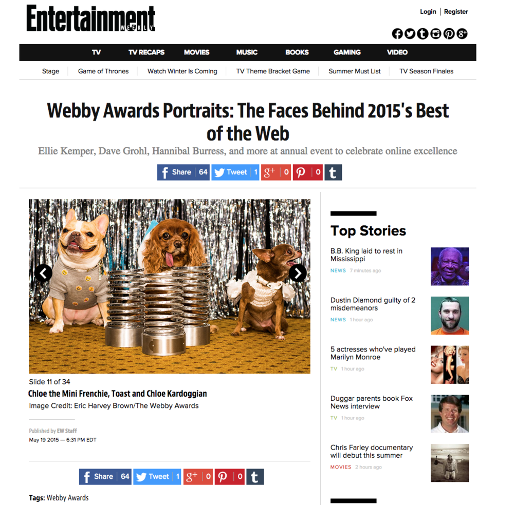 Webby Awards feature on Entertainment Weekly