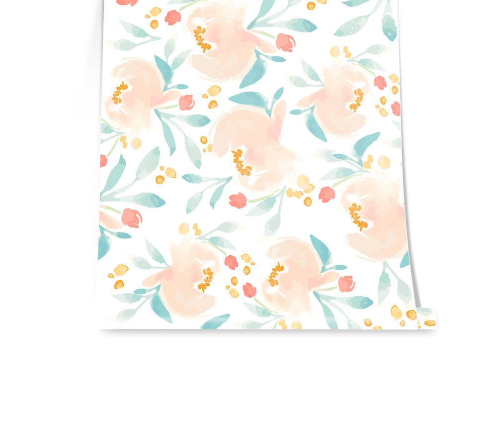 SOFT AND SWEET Raise your hand if you would have a new baby girl just to throw this up on the wall! This print is soft and her palette is so sweet. We love the way she works with the blooms around her and those small golden dots add a touch of warmth to her.