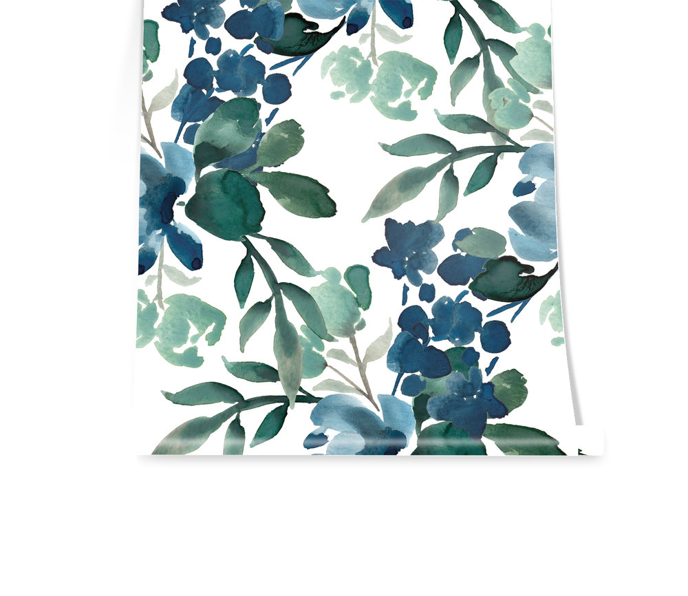 DEEP GREENS We are LOVING greens and blues lately and this pattern really makes us swoon. She crosses your wall with grace and her deep tones of indigo and light seafoam accents make her irresistible!