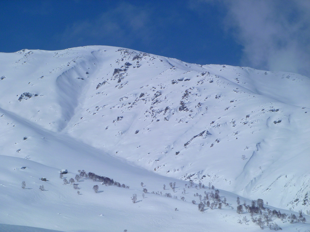 Looking into Affarwat North Bowl from the Chair, choose your line.