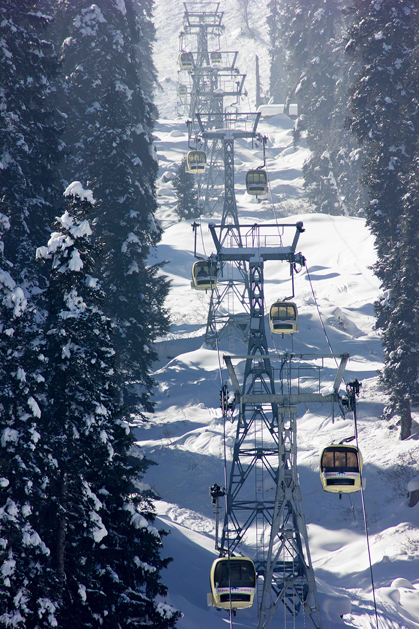 The Gondola line as seen from the village.