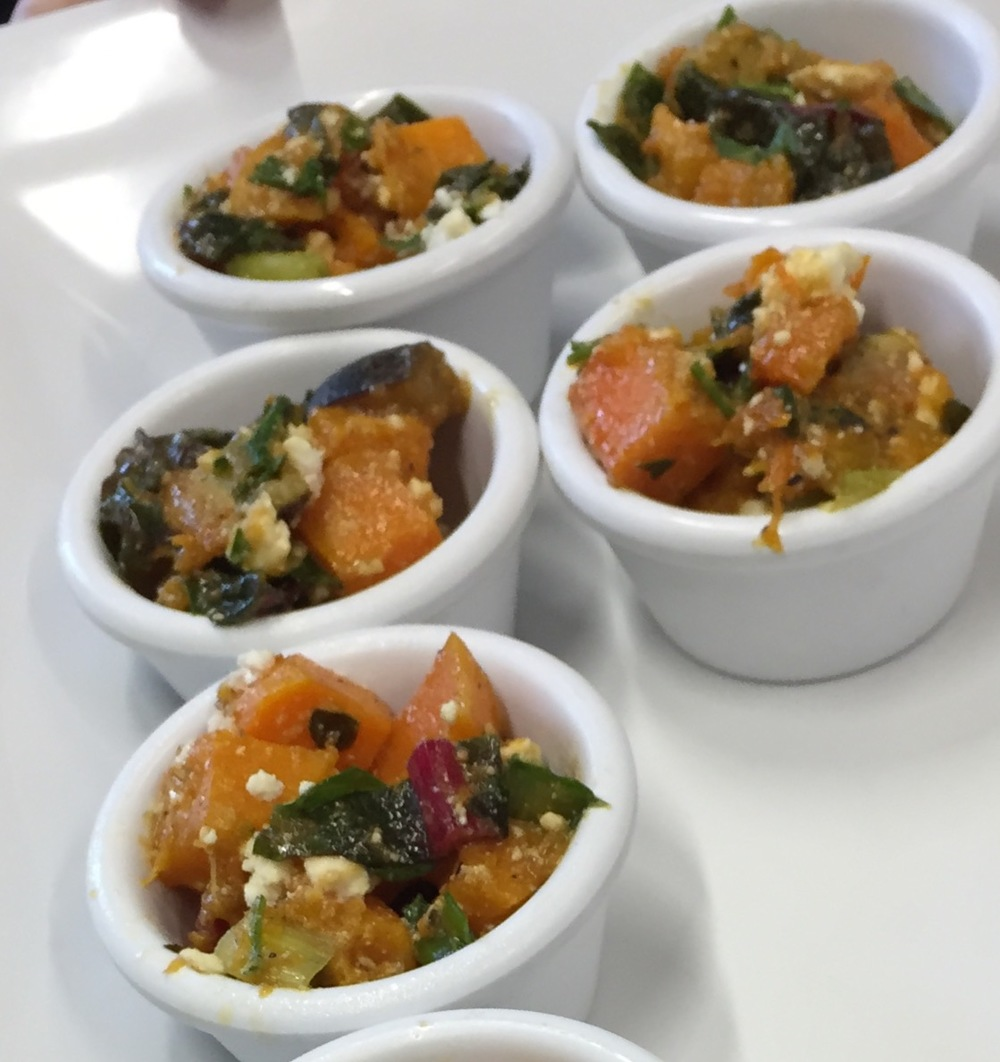 Pumpkin and fig salad with Swiss chard and feta presented by fresh table at findlay Market