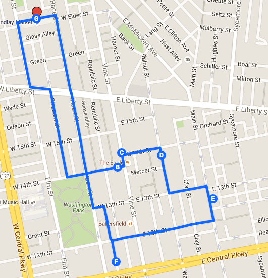Route for A typical Over-the-Rhine food tour