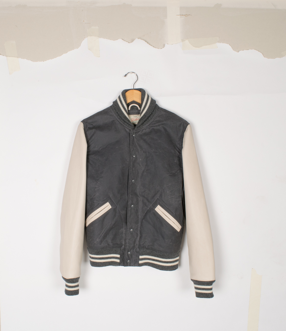 Varsity Jacket - Charcoal Waxed Canvas/Milk - $575