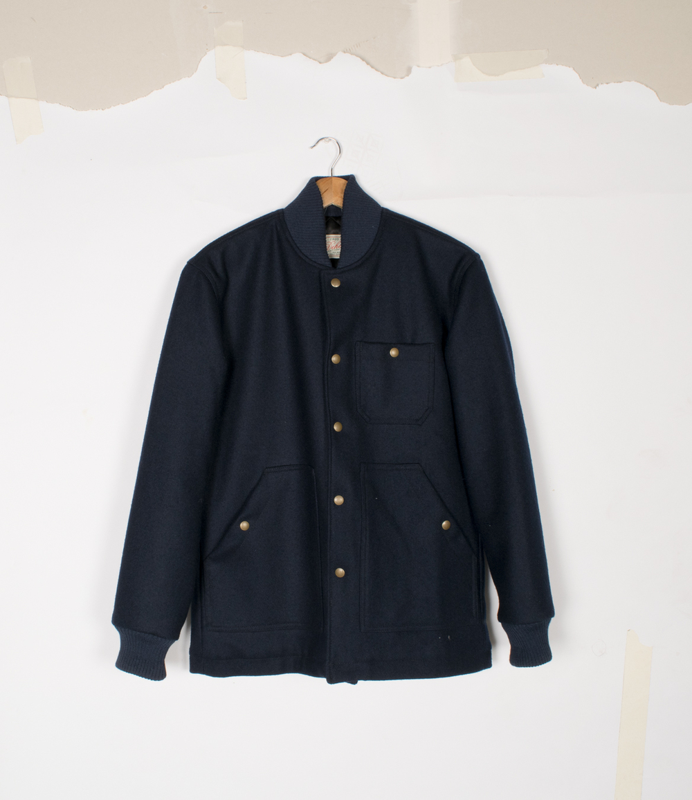 Ribbed Field Coat - Dark Navy Melton - $225/$460