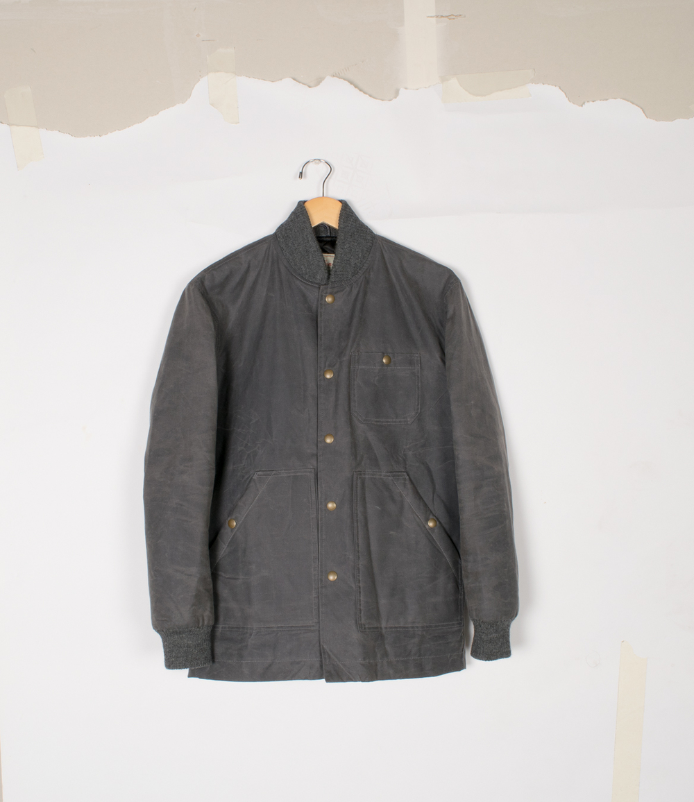 Ribbed Field Coat - Charcoal Waxed Canvas - $460