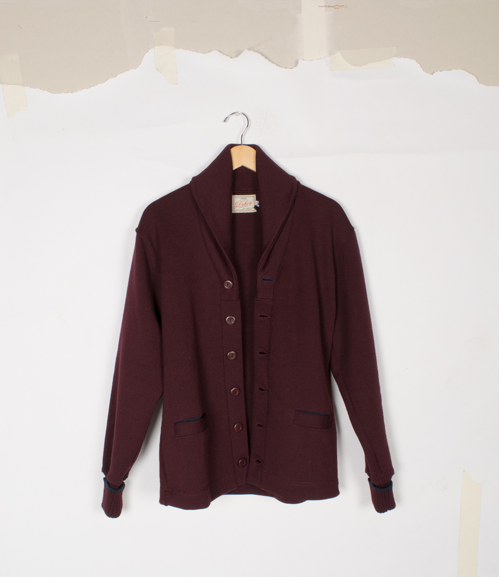 Shawl Sweater Coat - Maroon/Dark Navy - $195/$395