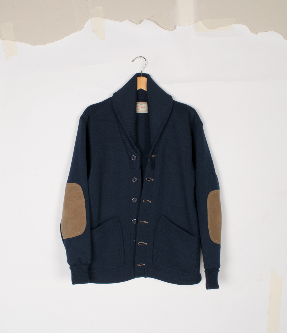 Shawl Sweater Coat 2.0 - Dark Navy/Field Tan - $395