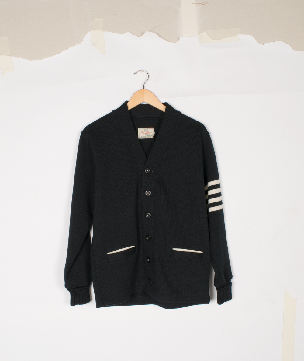 Varsity Cardigan - Black/Off-White - $155/$325