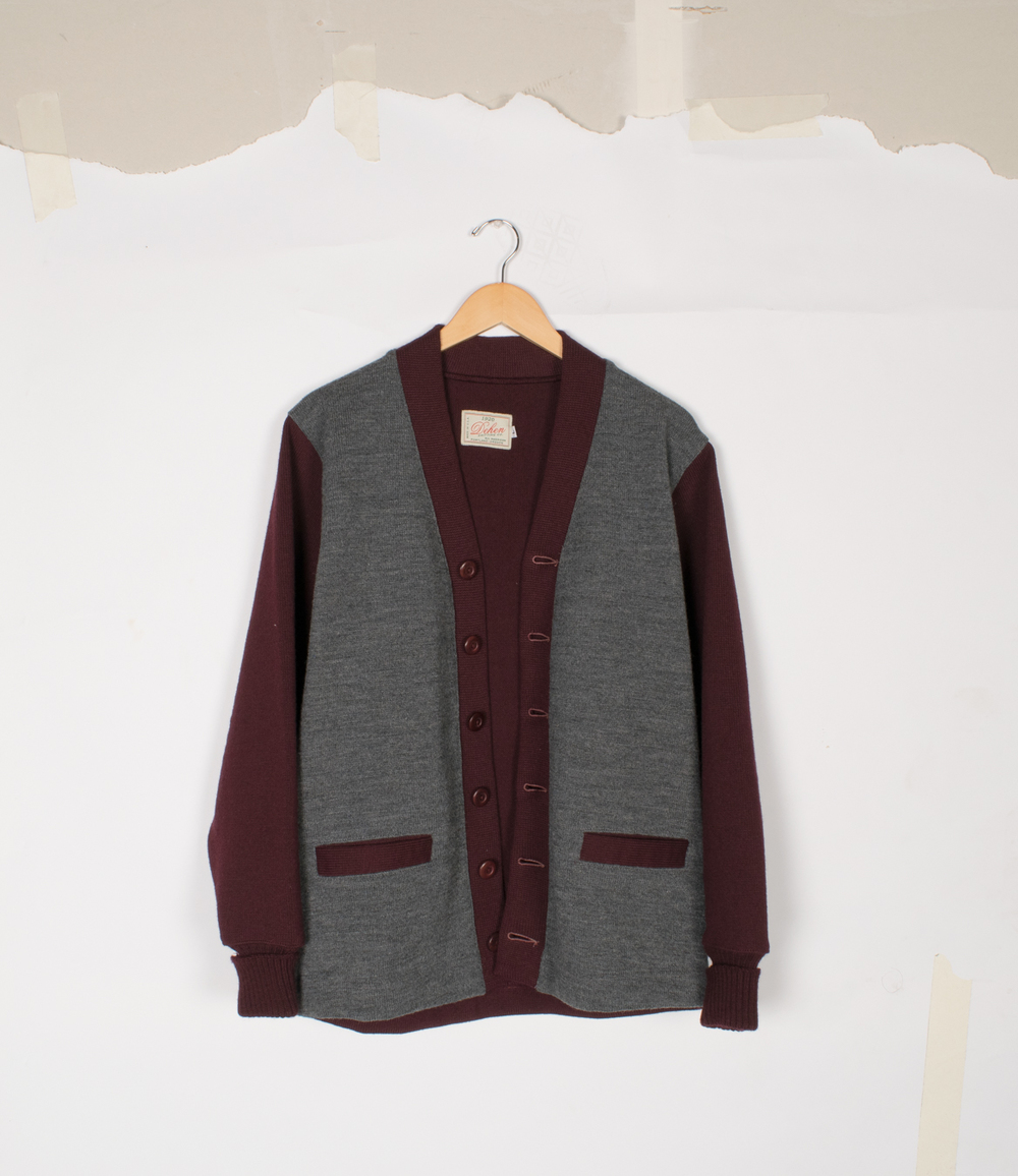 Boardwalk Cardigan - Maroon/Charcoal - $155/$325